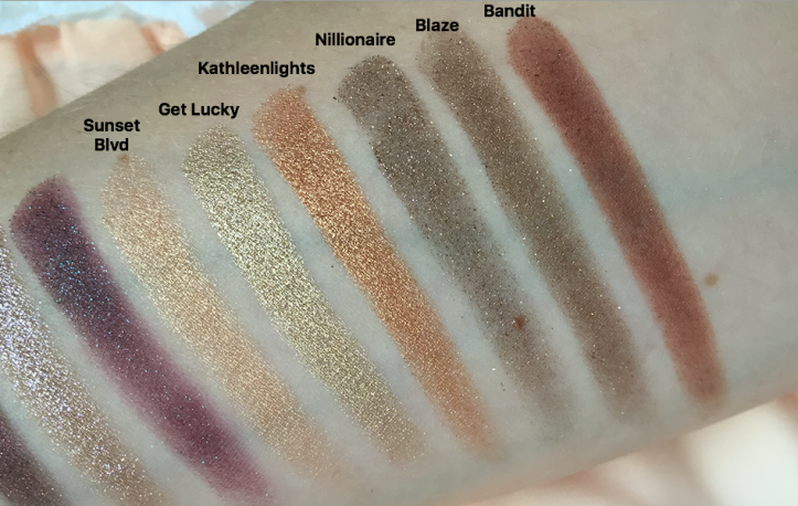 Colourpop swatches Sunset Blvd Get Lucky Kathleenlights Nillionaire Blaze Bandit