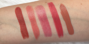 Too Faced Got Peach?, Tom Ford Marisa, YSL Try Me Berry, Charlotte Tilbury Amazing Grace and Mac Lady-Be-Good.
